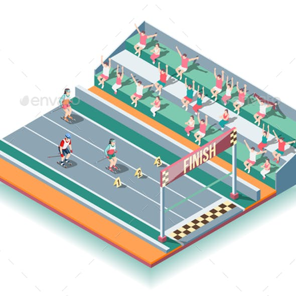 Sports Rollers Competitions Isometric Background