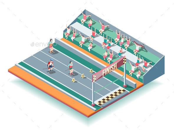 Sports Rollers Competitions Isometric Background - Sports/Activity Conceptual