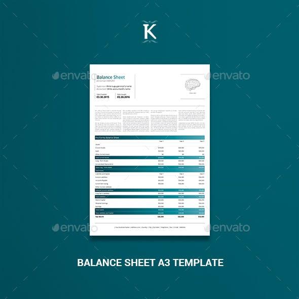 Balance Sheet A3 Template