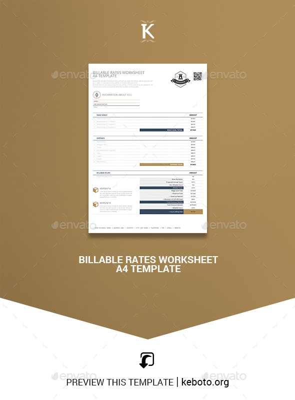 Billable Rates Worksheet A4 Template - Miscellaneous Print Templates