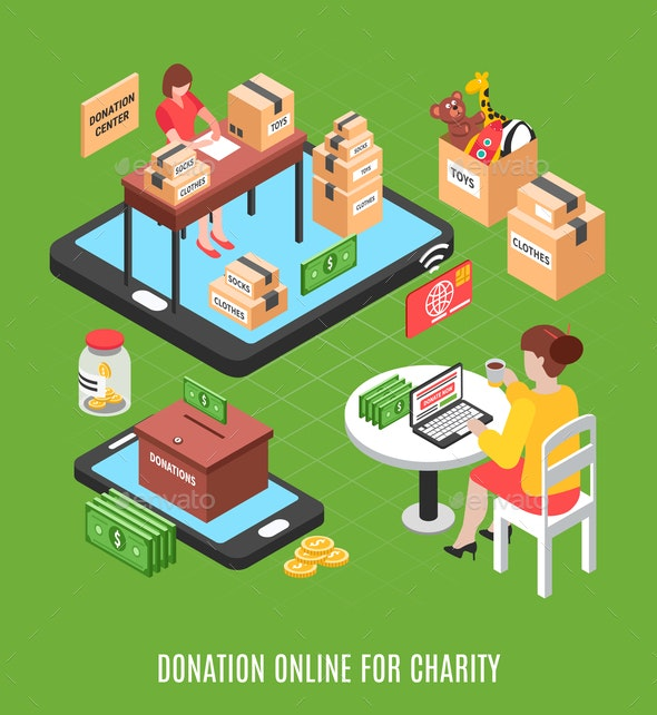 Donation Online Isometric Background - Miscellaneous Vectors