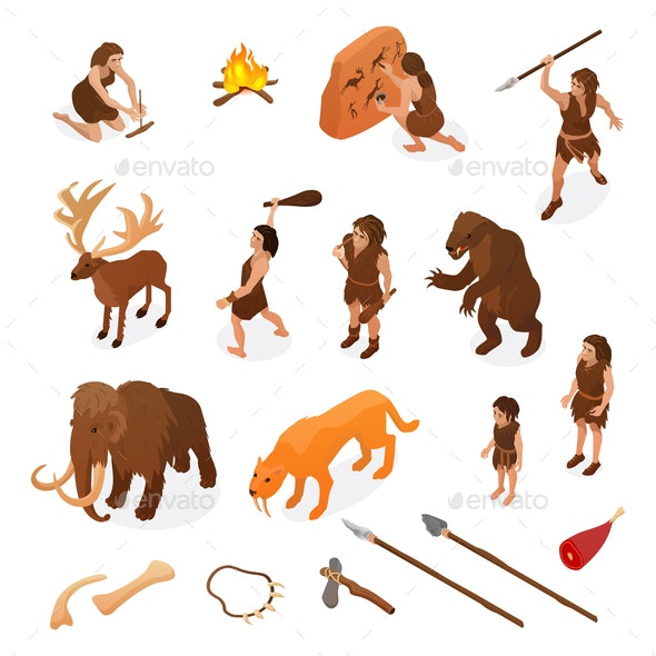 Primitive People Caveman Set - People Characters
