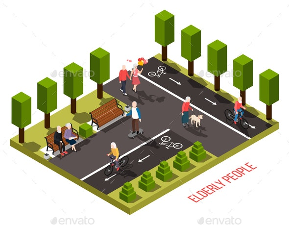 Elderly People Isometric Composition - People Characters