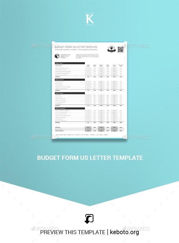Budget Form US Letter Template - Miscellaneous Print Templates
