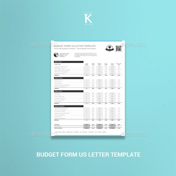 Budget Form US Letter Template
