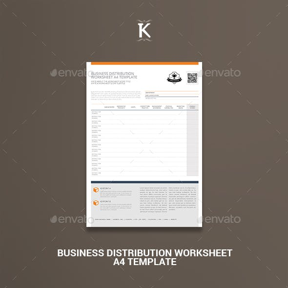Business Distribution Worksheet A4 Template