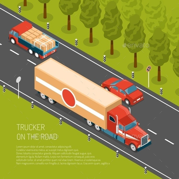 Delivery Truck Isometric Illustration - Miscellaneous Vectors