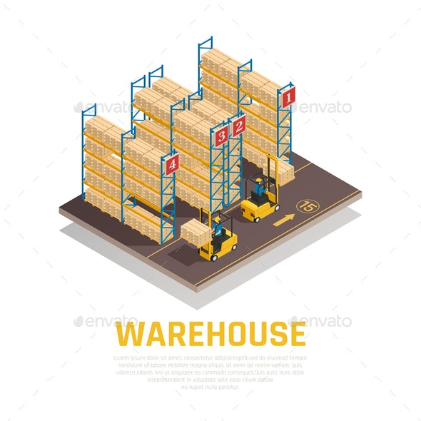 Warehouse Isometric Composition - Miscellaneous Vectors