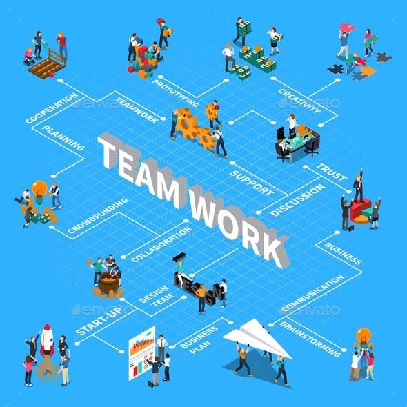 Teamwork Isometric Flowchart - People Characters