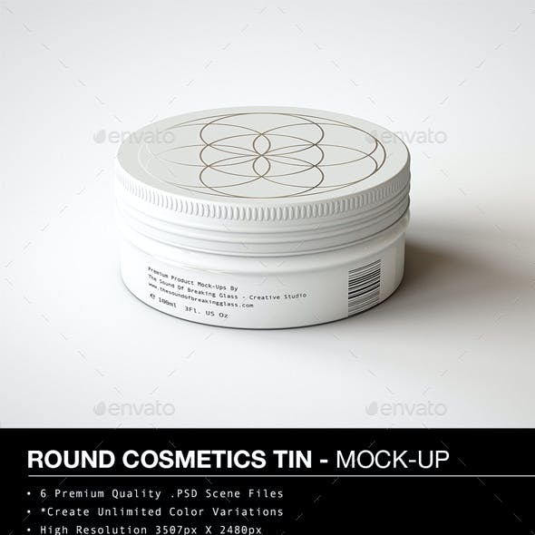 Round Cosmetics Tin Mock-Up | Metal Container Mock-Up