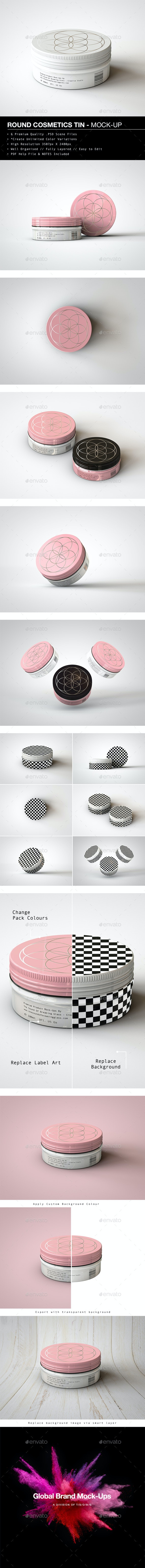 Round Cosmetics Tin Mock-Up | Metal Container Mock-Up - Beauty Packaging