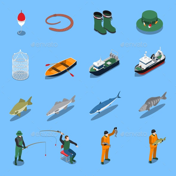 Fishing Isometric Icons Set - Industries Business