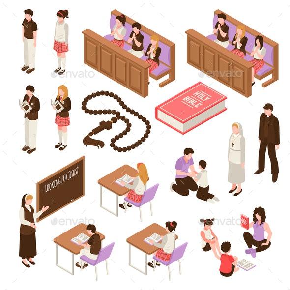 Religious Education Isometric Set - Religion Conceptual