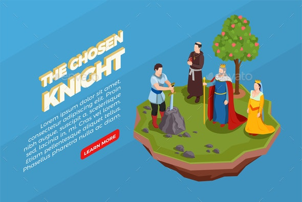 Chosen Knight Medieval Isometric Composition - People Characters