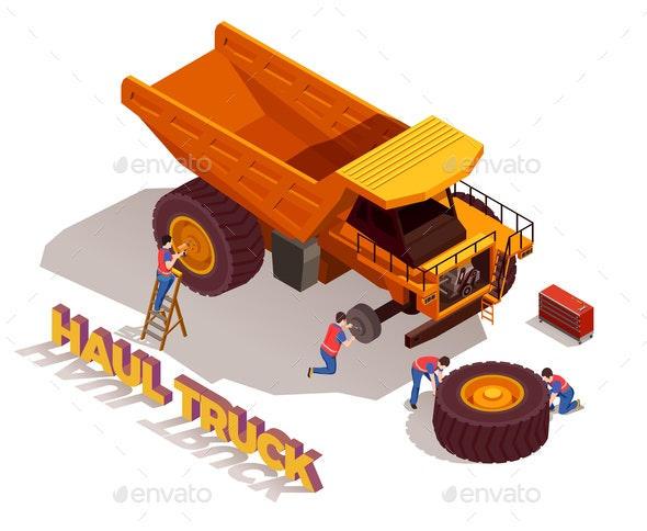 Haul Truck Isometric Composition - People Characters