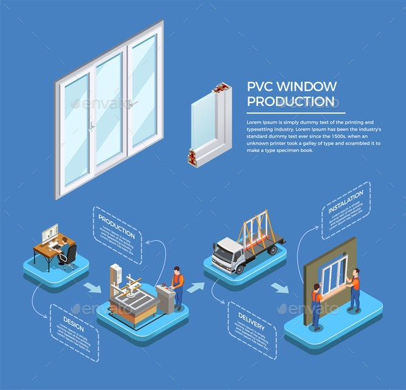 PVC Windows Production Isometric Composition - Industries Business