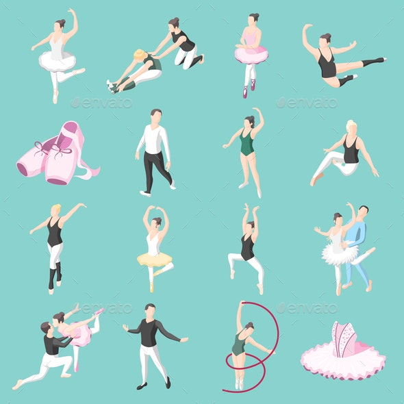 Ballet and Ballerinas Isometric Icons - Sports/Activity Conceptual