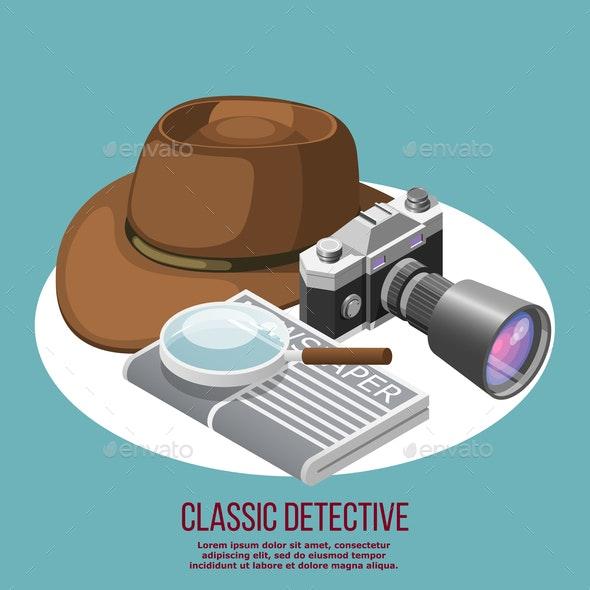 Classic Detective Isometric Composition - Miscellaneous Vectors