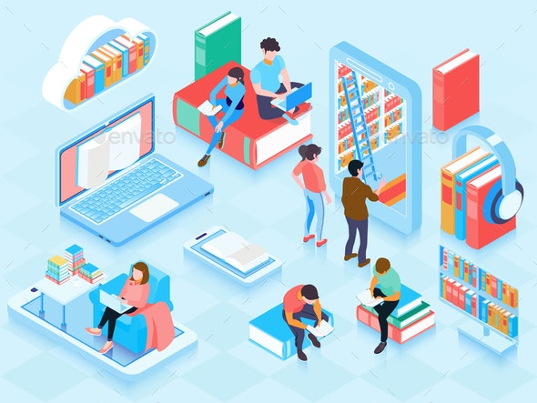 Online Library Isometric Elements Composition - Computers Technology