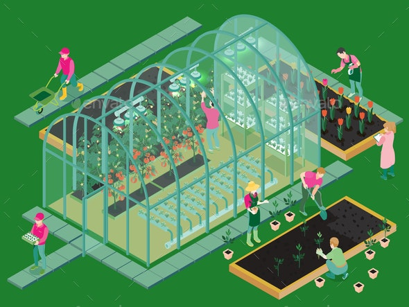 Greenhouse Isometric Composition - Food Objects