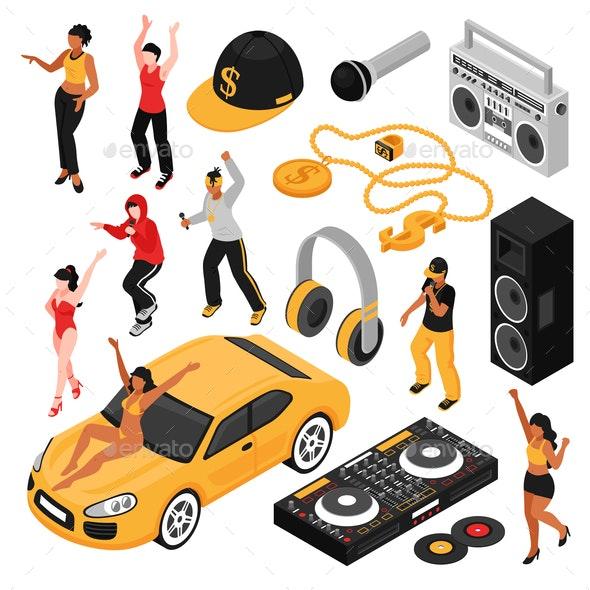 Rap Music Isometric Set - Miscellaneous Vectors