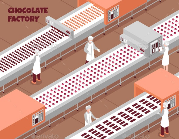 Chocolate Factory Isometric Background - Industries Business