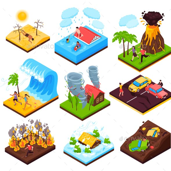 Natural Disaster Isometric Set