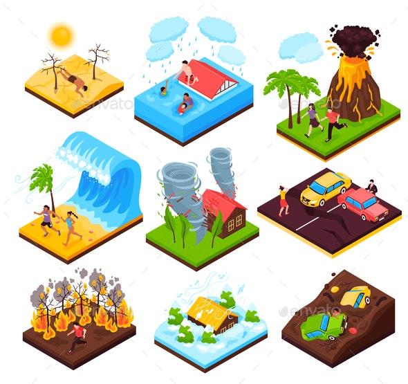 Natural Disaster Isometric Set - Landscapes Nature