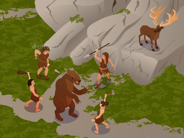 Primitive People Isometric Composition - People Characters