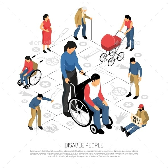 Disabled People Isometric Composition - People Characters
