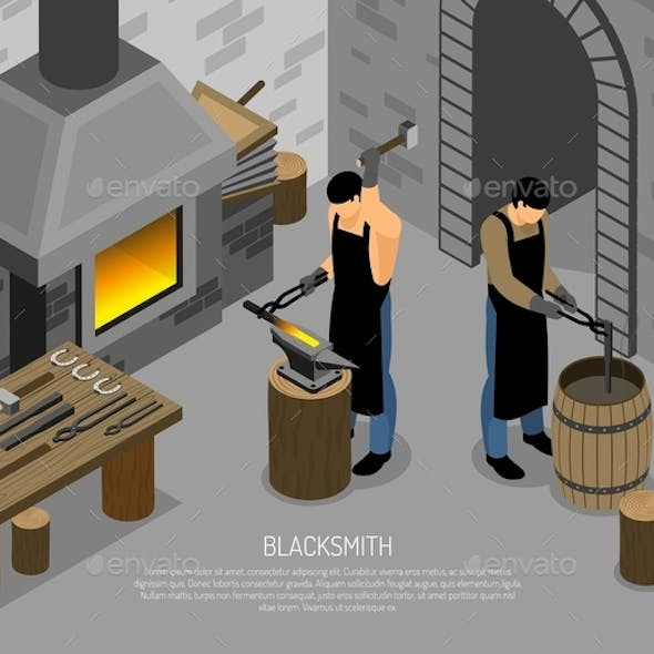 Blacksmith Work Isometric Illustration
