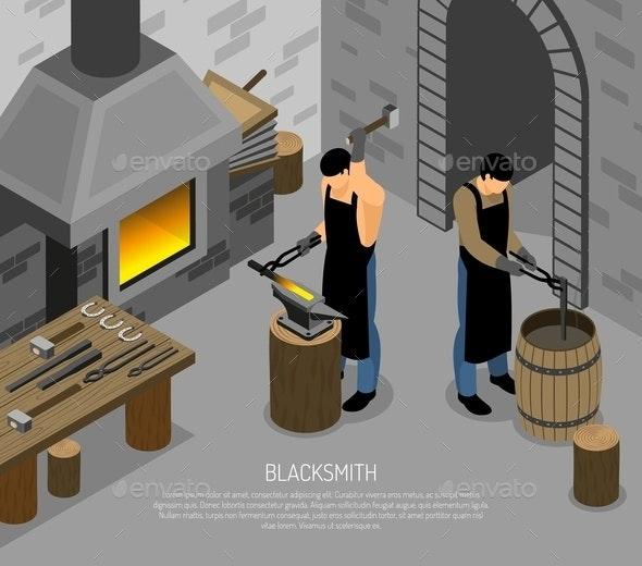Blacksmith Work Isometric Illustration - People Characters