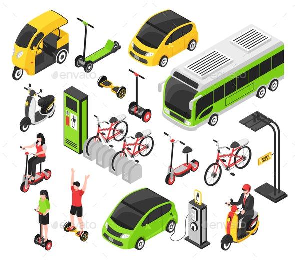 Eco Transport Isometric Set - Sports/Activity Conceptual