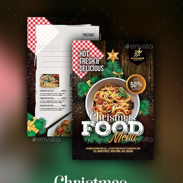 Christmas Food Menu  Postcard