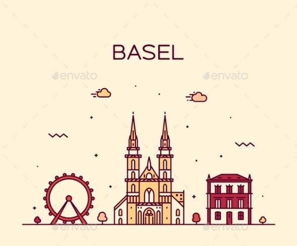 Basel Skyline Switzerland Vector Linear Style City - Buildings Objects
