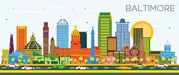 Baltimore Maryland City Skyline with Color Buildings - Buildings Objects