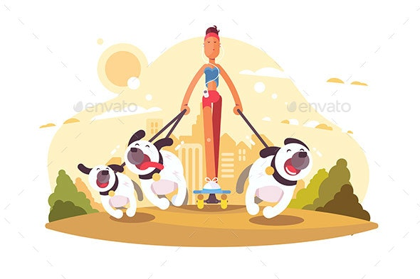 Woman on Skate Walking with Dogs - Animals Characters