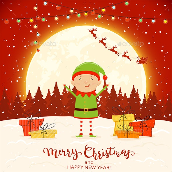 Elf on Red Winter Background with Gifts and Christmas Lights - Christmas Seasons/Holidays