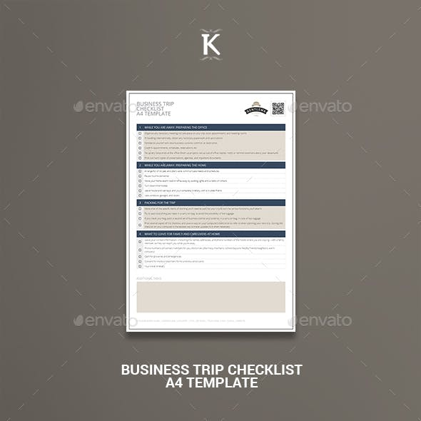 Business Trip Checklist A4 Template