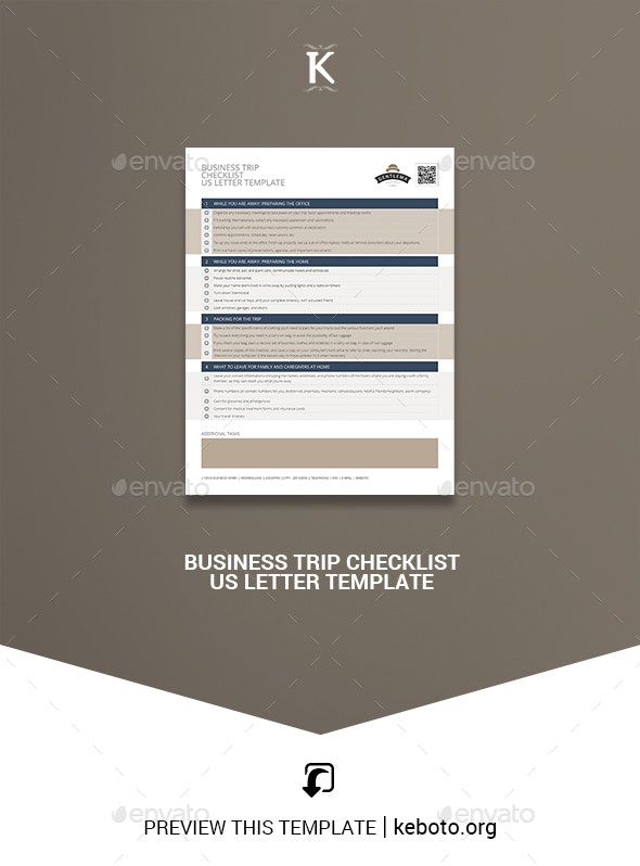 Business Trip Checklist US Letter Template - Miscellaneous Print Templates