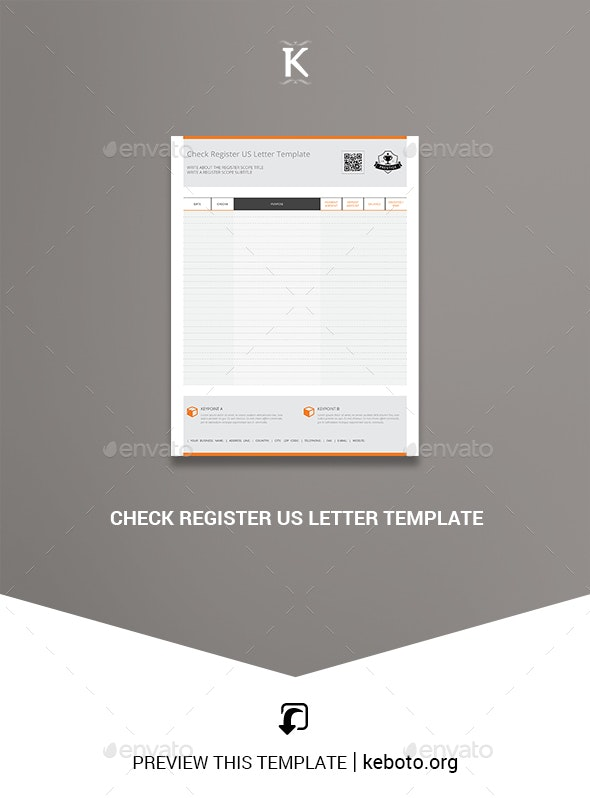 Check Register US Letter Template - Miscellaneous Print Templates
