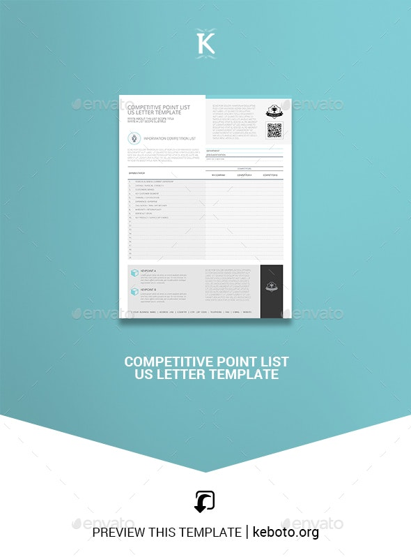 Competitive Point List US Letter Template - Miscellaneous Print Templates