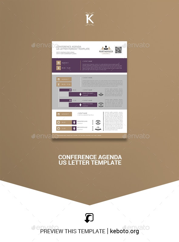 Conference Agenda US Letter Template - Miscellaneous Print Templates