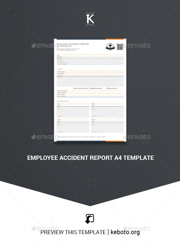 Employee Accident Report A4 Template - Miscellaneous Print Templates