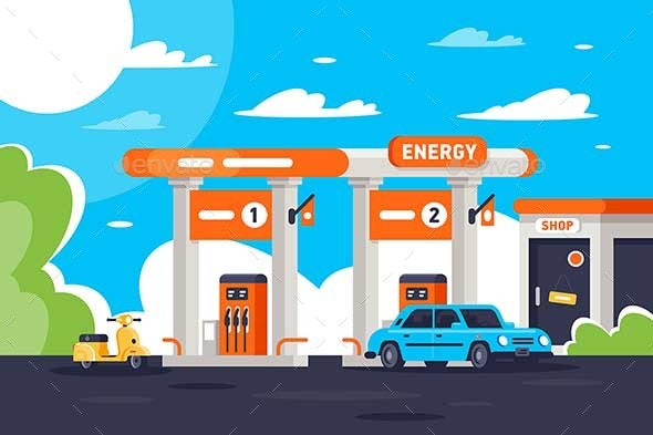 Flat Gas Station with Shop - Industries Business