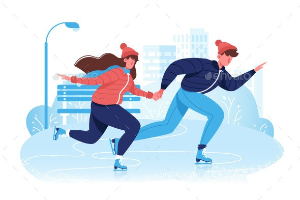 Flat Happy Couple in Winter Clothes Skating on Ice - Sports/Activity Conceptual