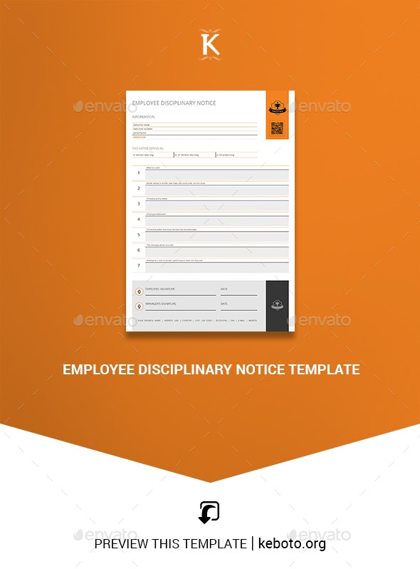 Employee Disciplinary Notice Template - Miscellaneous Print Templates