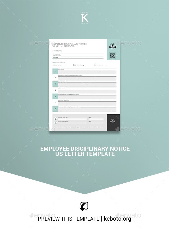 Employee Disciplinary Notice US Letter Template - Miscellaneous Print Templates