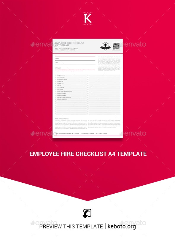 Employee Hire Checklist A4 Template - Miscellaneous Print Templates