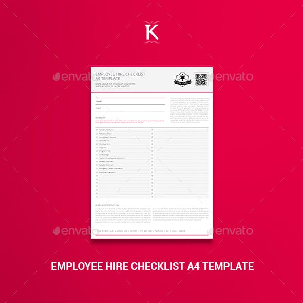 Employee Hire Checklist A4 Template